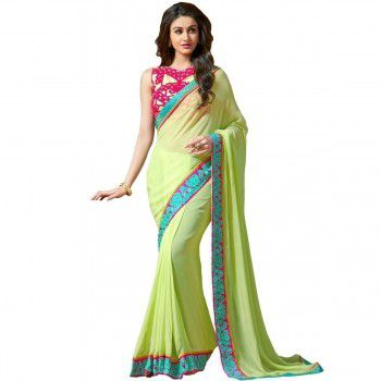 Georgette Lime Green Plain Saree - GM1 Price in India