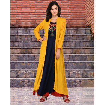 Brave Rayon Blue & Yellow Stitched Plain Double Layer Kurti - B1005 Price in India