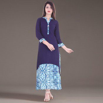 Brave Rayon Blue Stitched Printed Asymmetric Kurti - BR703 Price in India