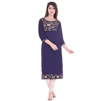 Brave Rayon Blue Stitched Plain Straight Kurti - BR702 Price in India