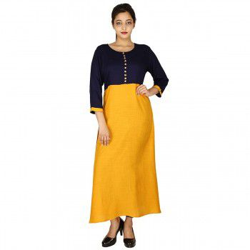 Brave Rayon Yellow & Blue Stitched Plain Straight Kurti - BR715 Price in India
