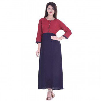 Brave Rayon Red & Blue Stitched Plain Straight Kurti - BR714 Price in India