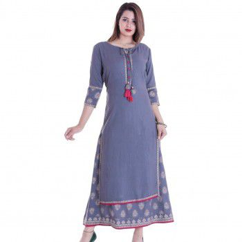 RA Creation Rayon Grey Stitched Printed Double Layer Kurti - TRE3 Price in India