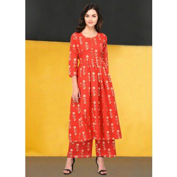 Brave Poly Cotton Red Stitched Floral Print Aline Kurti With Bottom - B1009 Price in India
