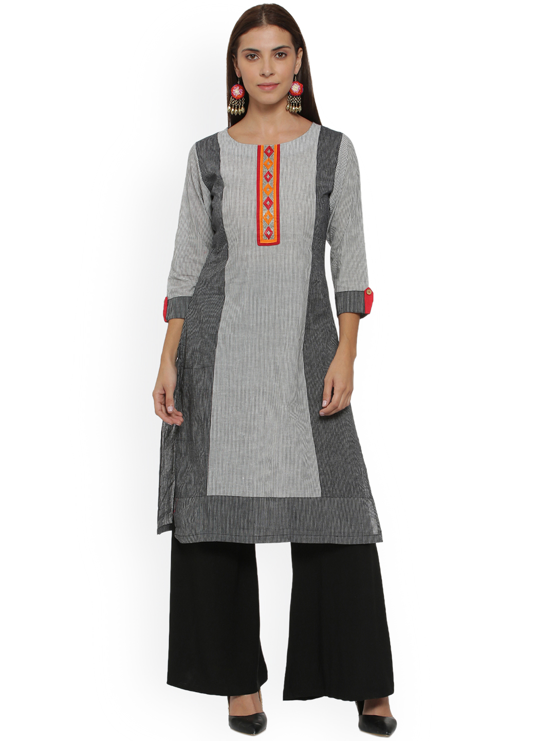 Soch Women Grey & White Embroidered A-Line Kurta Price in India