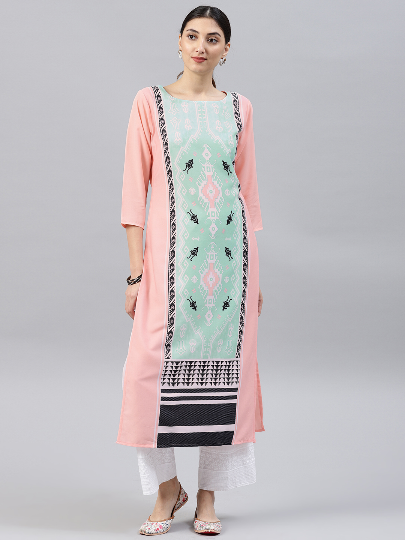 Vaamsi Women Peach-Coloured & Green Printed Straight Kurta Price in India