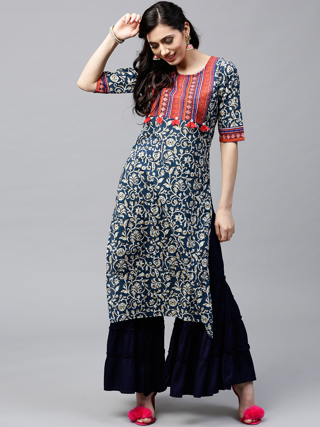 AKS Women Navy Printed Straight Kurta Price in India