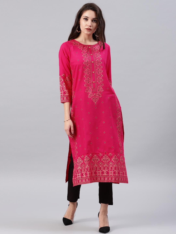 Vishudh Women Pink Printed A-Line Kurta Price in India
