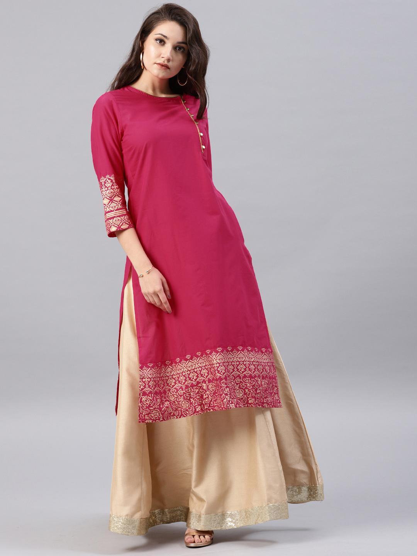 Vishudh Women Pink Solid Straight Kurta Price in India
