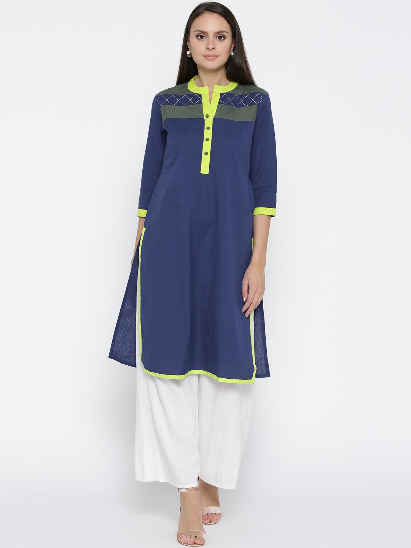 Jashn Women Blue Solid Straight Kurta Price in India