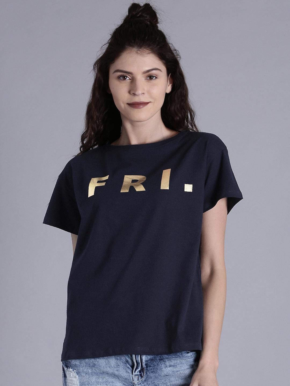 Kook N Keech Women Navy Boxy Fit Printed T-shirt Price in India