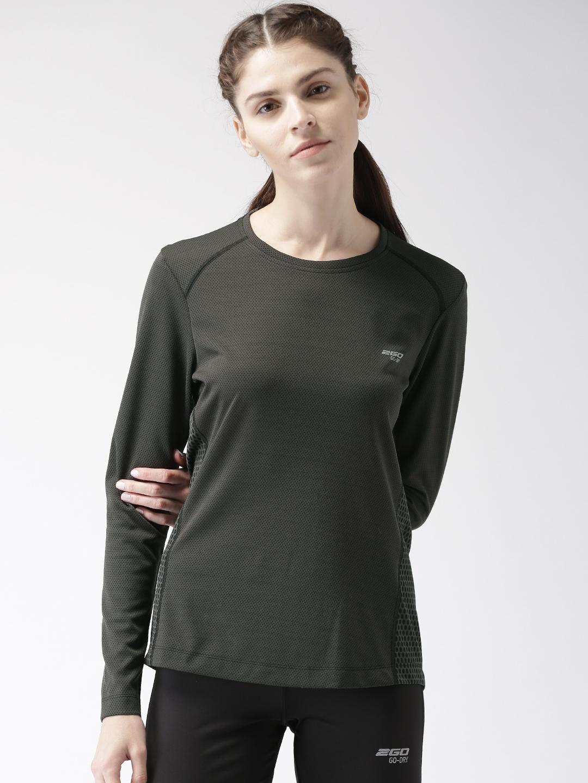 2GO Women Black & Grey Self-Design Training T-shirt Price in India