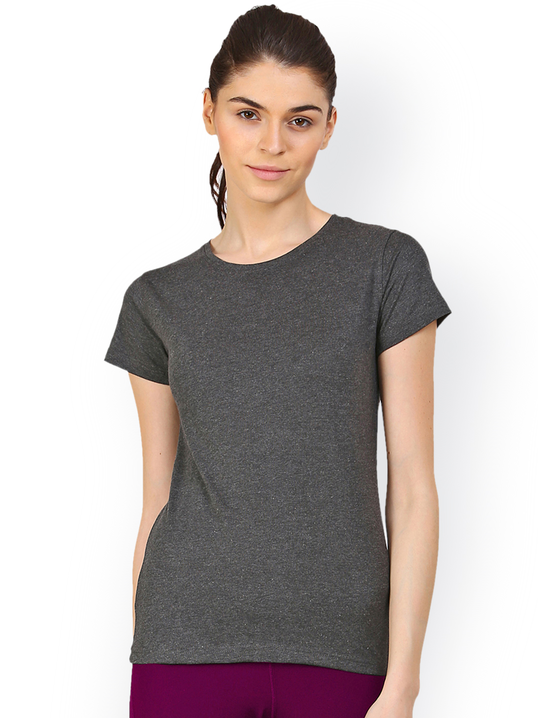 appulse Women Charcoal Solid Round Neck T-shirt Price in India