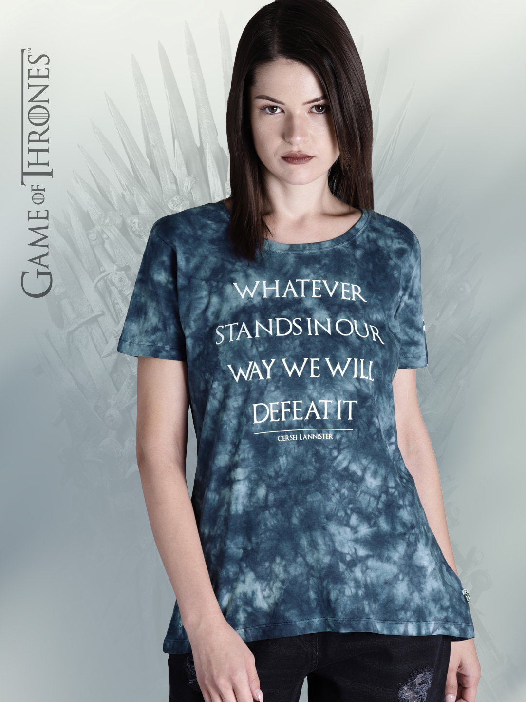 Game of Thrones by Kook N Keech Women Teal Blue Printed Dyed Round Neck T-shirt Price in India