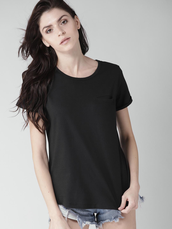 Mast & Harbour Women Black Solid Round Neck T-shirt Price in India