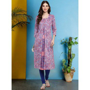 Mytri Poly Cotton Multicolour Stitched Printed Double Layer Kurti - 7027BNK Price in India