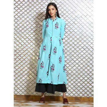 Vastra Gram Poly Cotton Blue Stitched Floral Print Double Layer Kurti - VA211 Price in India