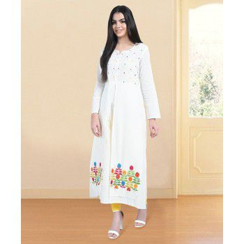 Rihansh Cotton White Stitched Embroidered Double Layer Kurti - KN78 Price in India