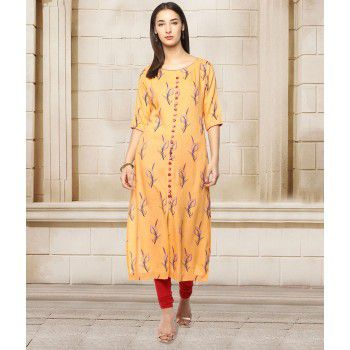 Prakhya Rayon Orange Stitched Printed Straight Kurti - P229GE Price in India