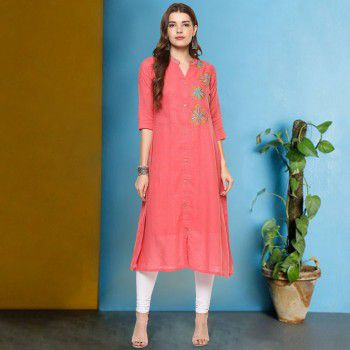 Prakhya Poly Cotton Pink Stitched Embroidered Indo Western Kurti - P255NK Price in India