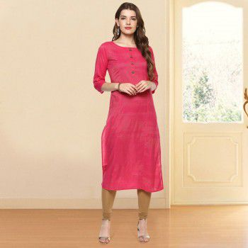 Prakhya Poly Cotton Pink Stitched Plain Straight Kurti - P256NK Price in India