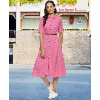 Prakhya Poly Cotton Pink Stitched Printed Indo Western Kurti - P257KP Price in India