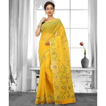 Buymyethnic Cotton Yellow Saree - BME18 Price in India