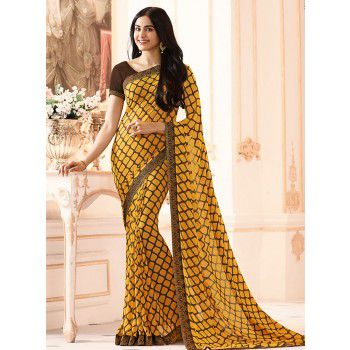 Priyal Fashion Georgette Yellow Printed Saree - SP106 Price in India
