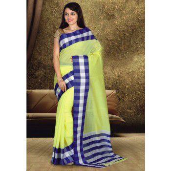 Sahaanaa Sarees Poly Cotton Yellow Plain Saree - SAHA3 Price in India