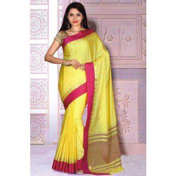 Sahaanaa Sarees Poly Cotton Yellow Plain Saree - SAHA21 Price in India