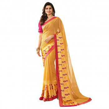 Priyal Fashion Prachi Desai Poly Silk Yellow Plain Saree - SP87 Price in India