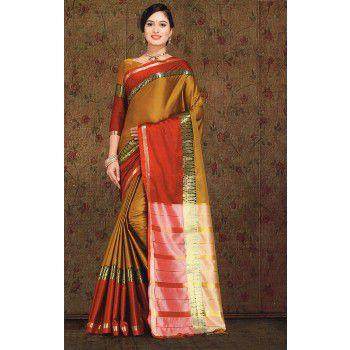 Sagar Sarees Cotton Silk Mustard Plain Saree - SSE29 Price in India