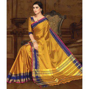 Sagar Sarees Cotton Silk Mustard Plain Saree - SSE26 Price in India