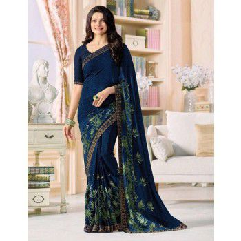 Dhanu Fashion Prachi Desai Georgette Blue Floral Print Saree - A0203 Price in India