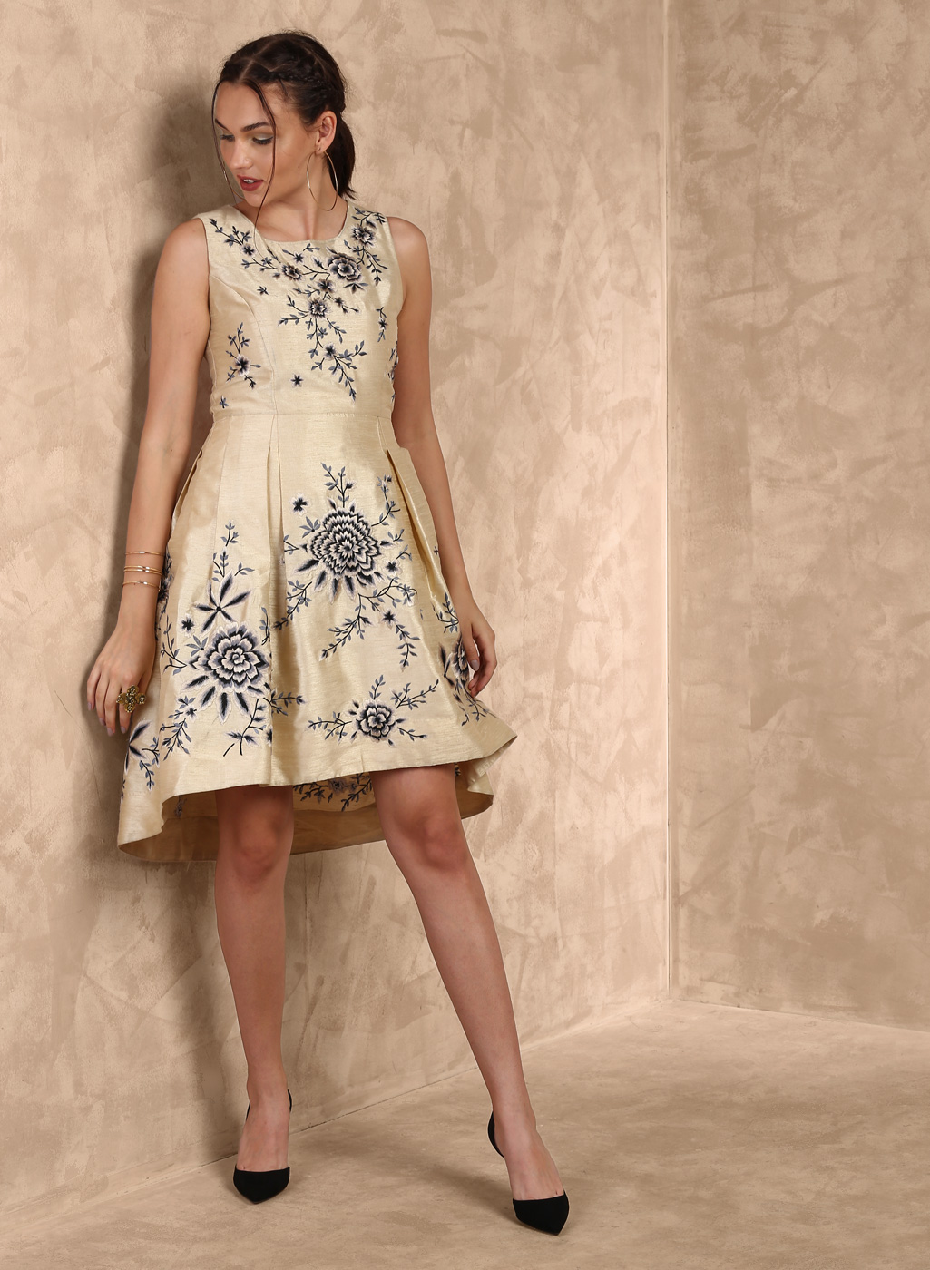 Gold Printed Skater Dress Price in India