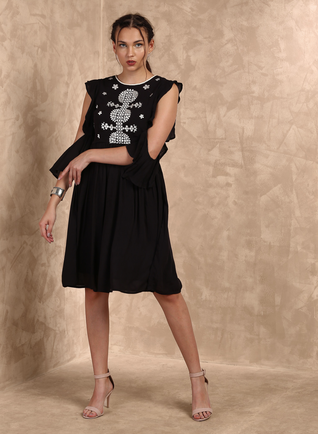 Black Self Design Skater Dress Price in India