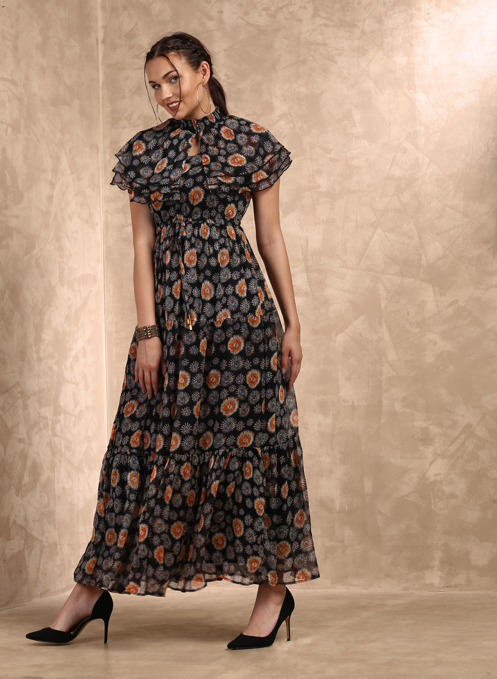 Black Printed Maxi Dress Price in India