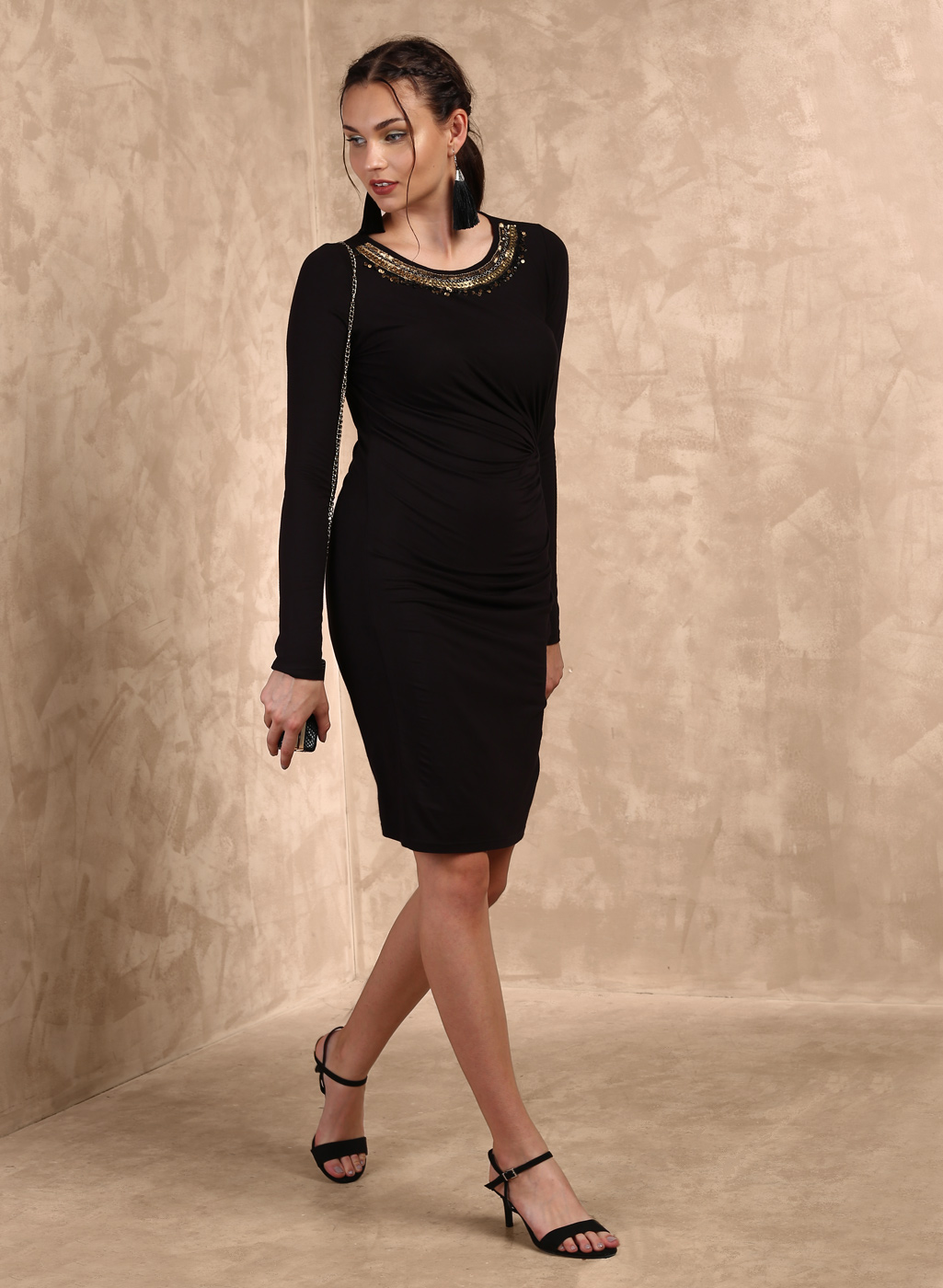 Black Embellished Bodycon Dress Price in India