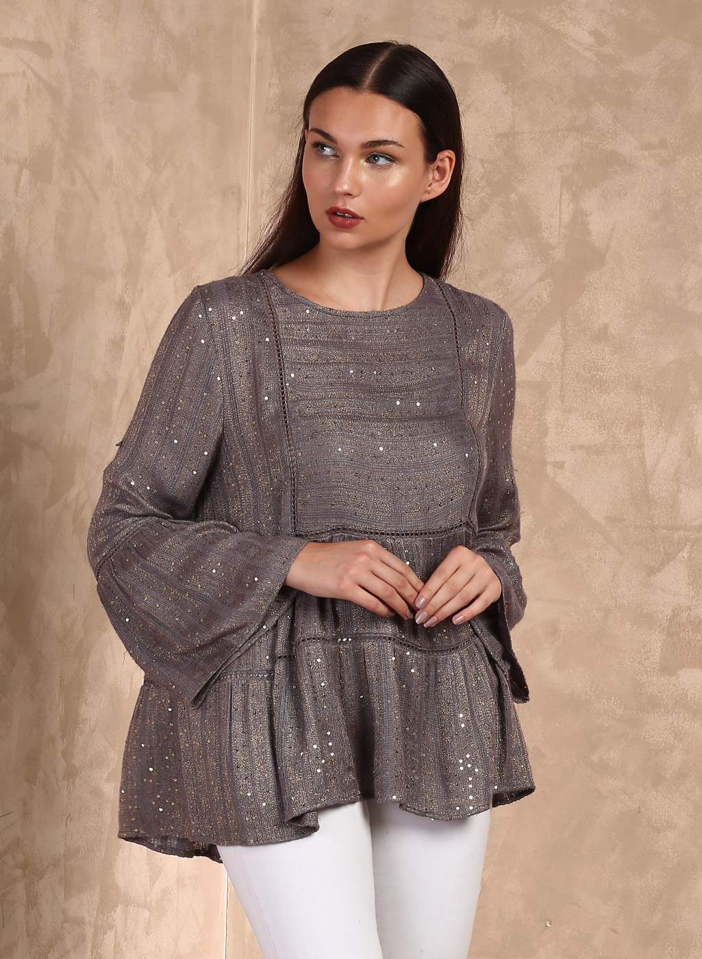 Grey Embellished Blouse Price in India