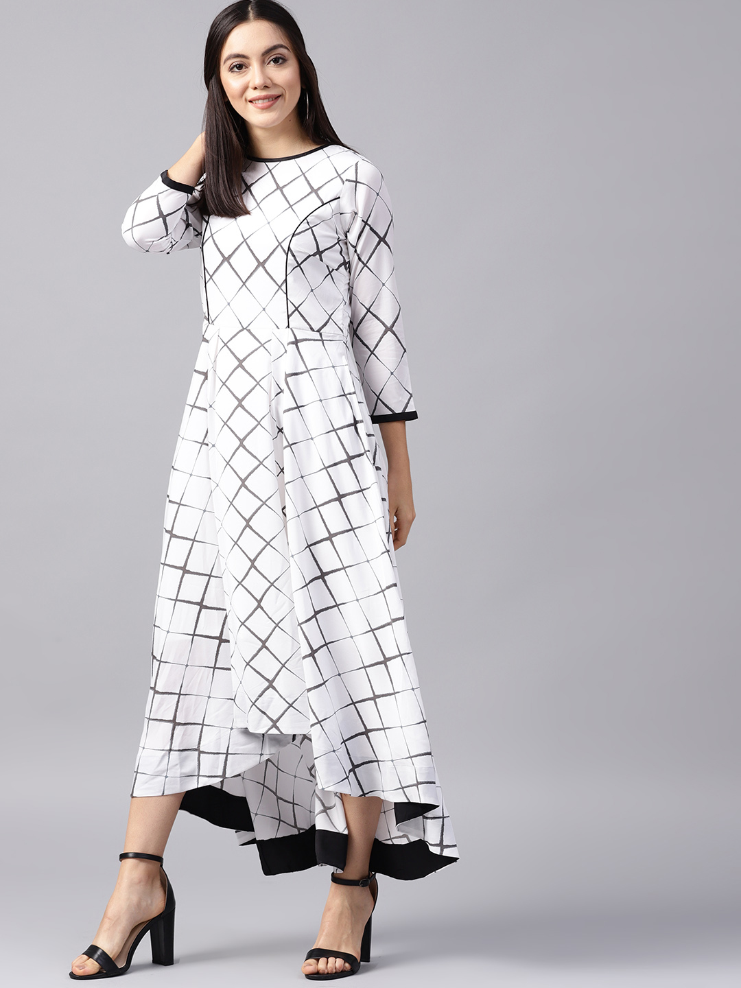 Athena Women White & Charcoal Grey Checked Maxi Dress Price in India