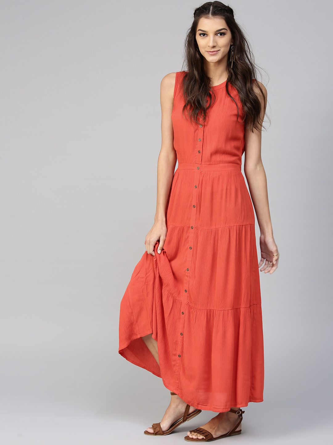 SASSAFRAS Women Red Solid Tiered Maxi Dress Price in India