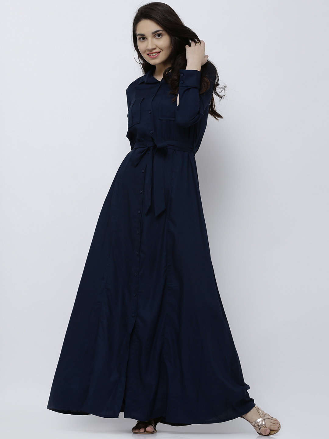 Tokyo Talkies Women Navy Blue Solid Maxi Dress Price in India