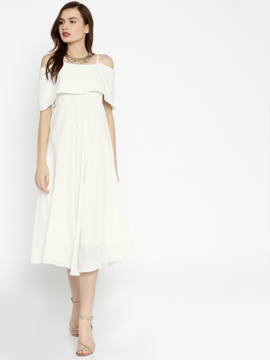 SASSAFRAS Women White Solid Layered Fit & Flare Dress Price in India