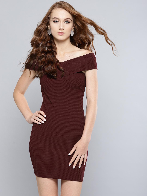 Veni Vidi Vici Women Maroon Solid Bardot Bodycon Dress Price in India
