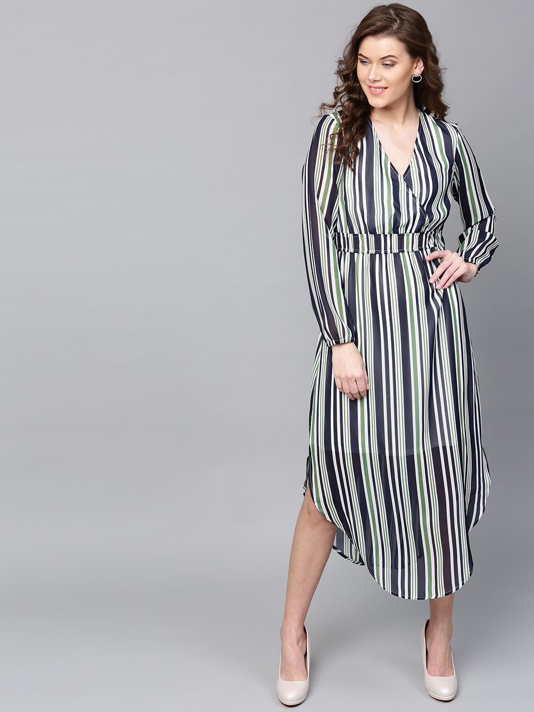 SASSAFRAS Women Navy Blue & Green Striped Midi Fit & Flare Dress Price in India
