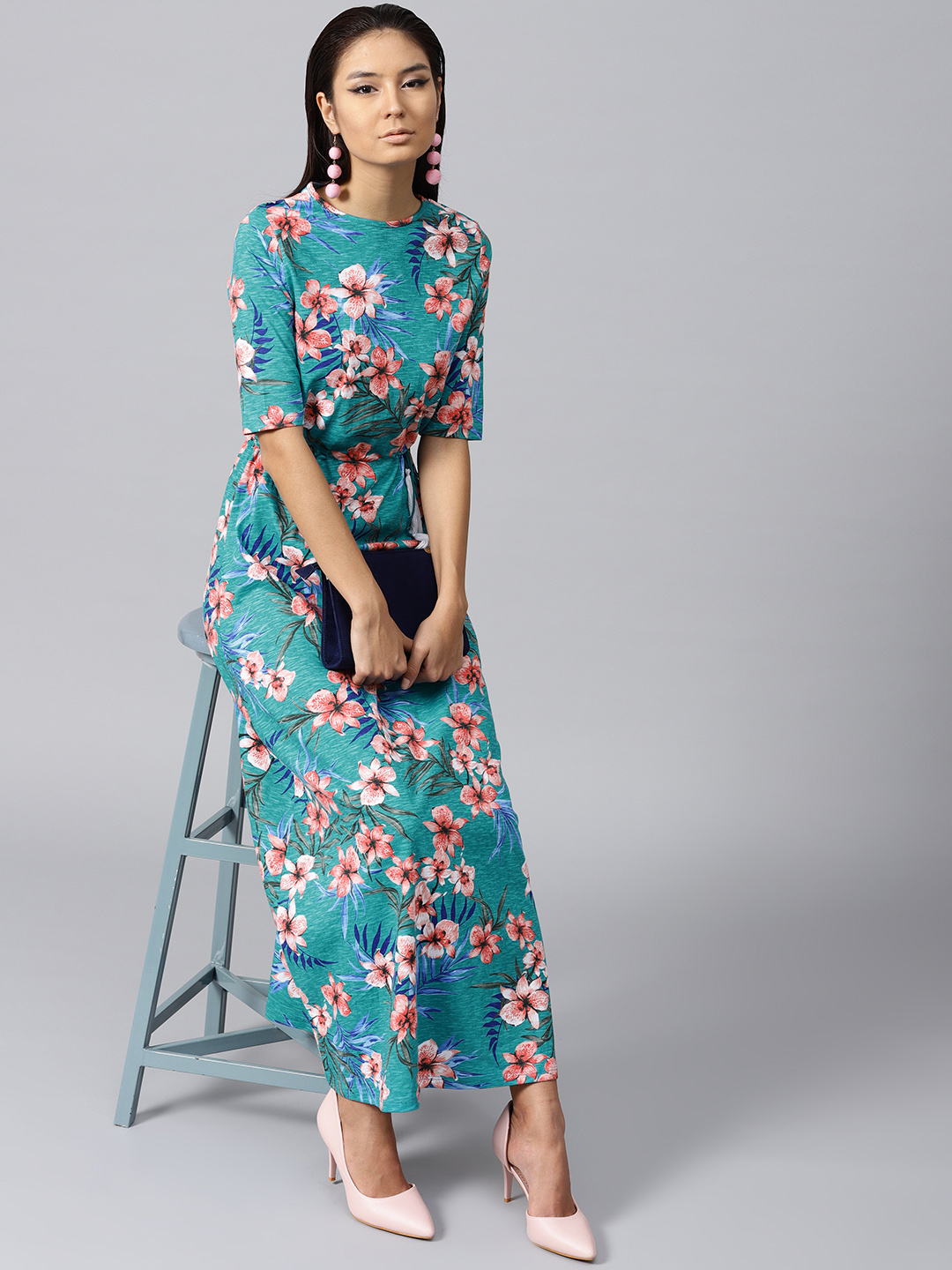 SASSAFRAS Women Turquoise Blue Floral Print Maxi Dress Price in India