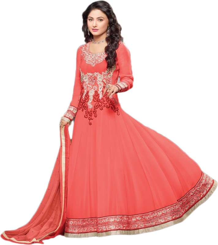Javuli Georgette Embroidered Semi-stitched Salwar Suit Dupatta Material Price in India