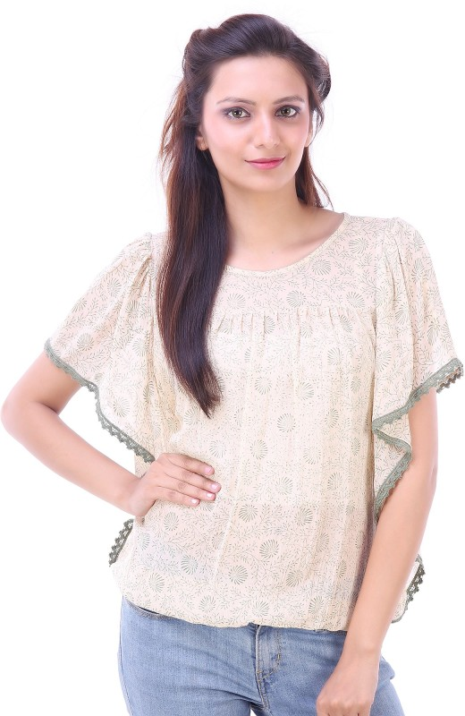Goodwill Impex Casual Short Sleeve Printed Women's Beige Top Price in India