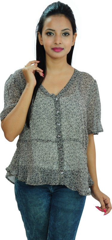 Goodwill Impex Casual Short Sleeve Printed Women's Multicolor Top Price in India