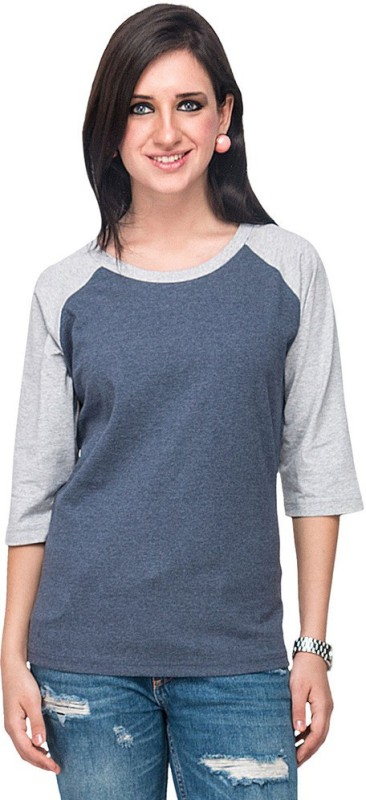 Campus Sutra Casual 3/4th Sleeve Solid Women's Dark Blue, Grey Top Price in India